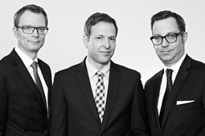 "Rechtsanwälte Heiner Heldt (li.), Jan Zülch und Sebastian Hofacker."""